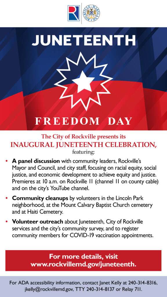 Juneteenth Freedom Day flier featuring Juneteenth red and blue flag with star and event listings.