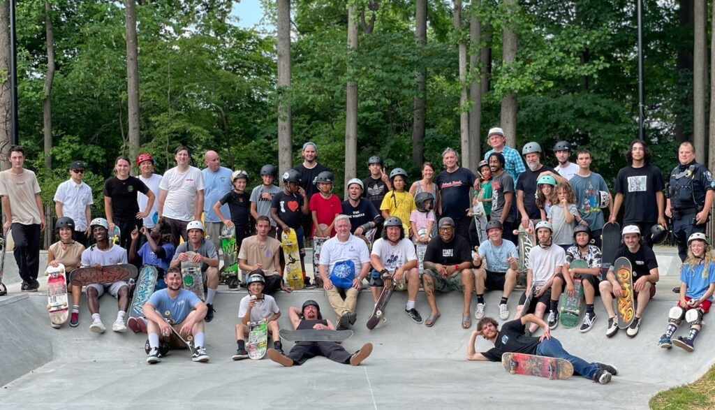 Group photo of skateboarders on June 7, 2021 at the opening of the Rockville Skate Park.